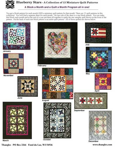 Thangles blueberry stars monthly quilts