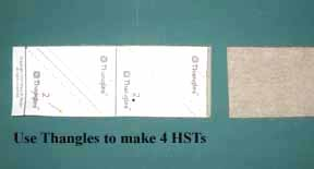 use two fabric strips and thangles to make hsts