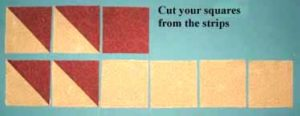 cut your squares from the same strips that you used for HSTs
